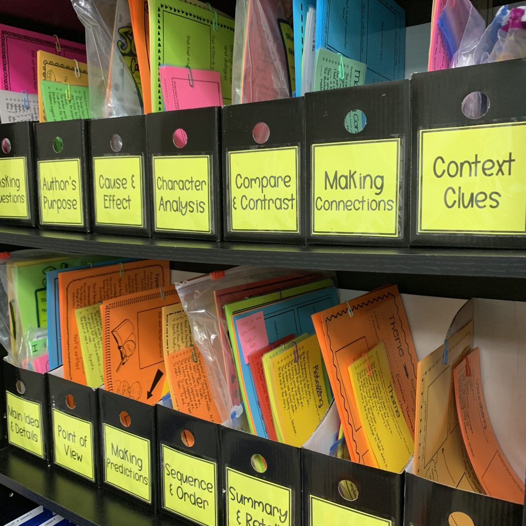 Guided Reading Skills and Strategies Organization Bins