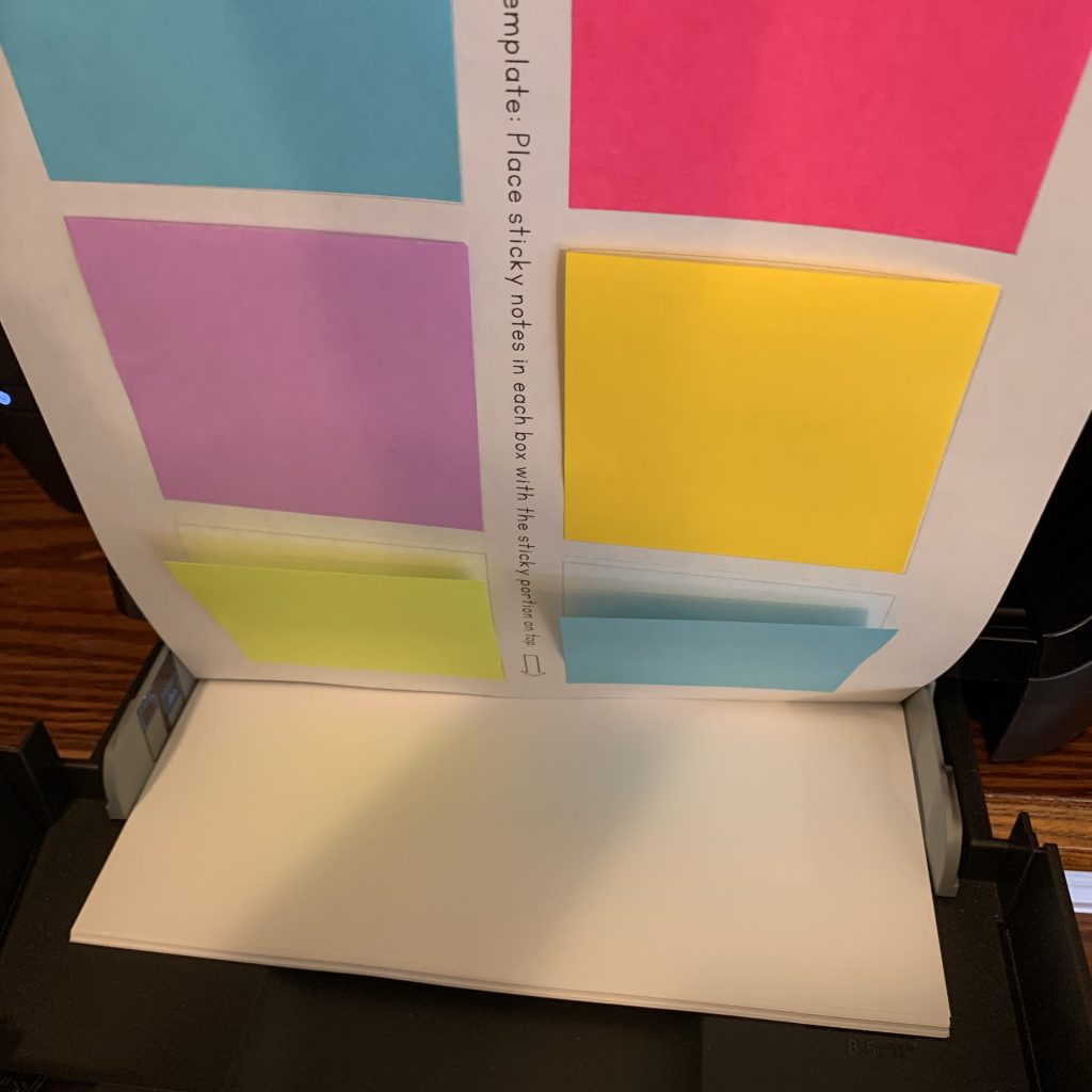 how to place sticky note template into your printer