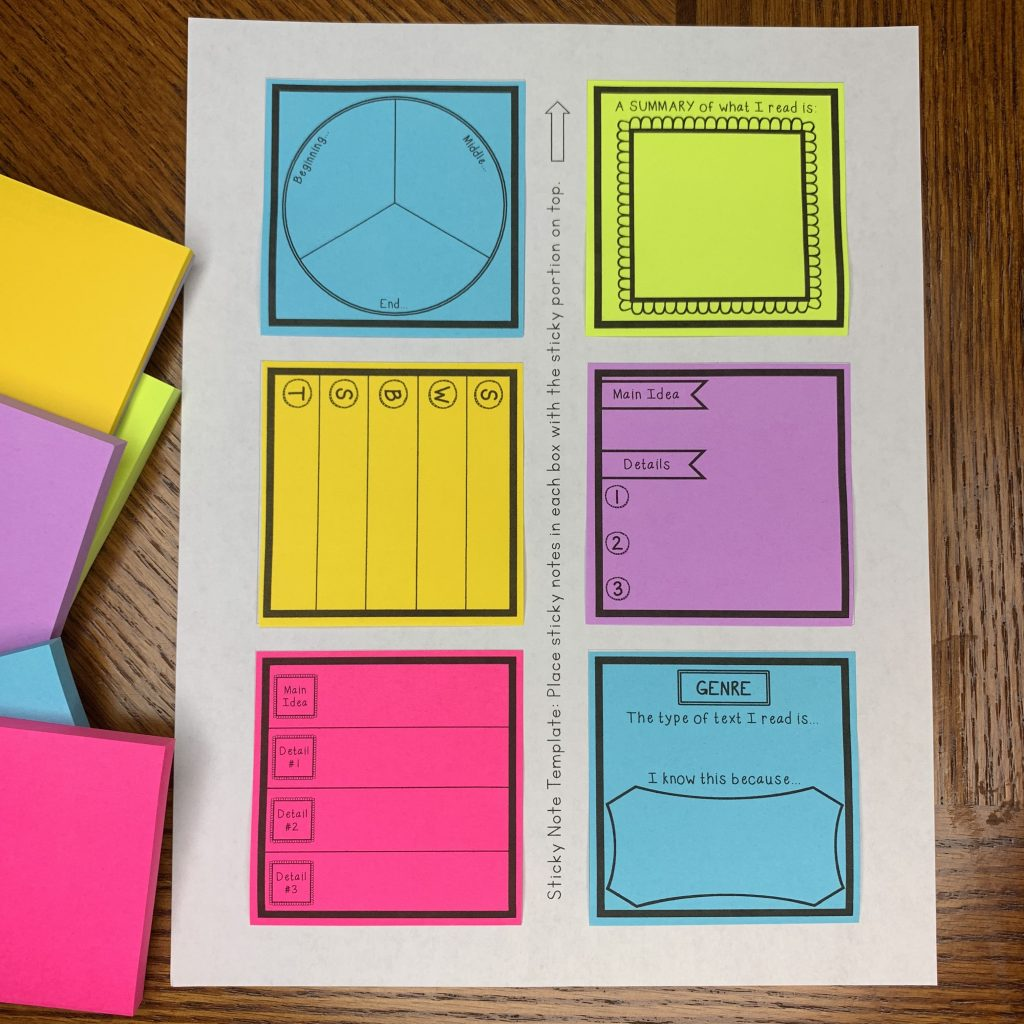 Reading graphic organizer sticky note templates