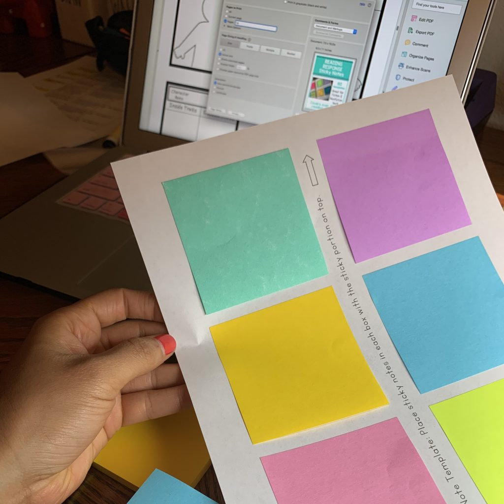 printing on sticky notes